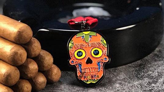 Op: Cigars For Warriors 2019 Orange Skull Pin