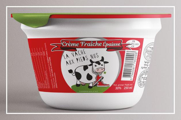 Création d'une étiquette pour pot de crème fraîche