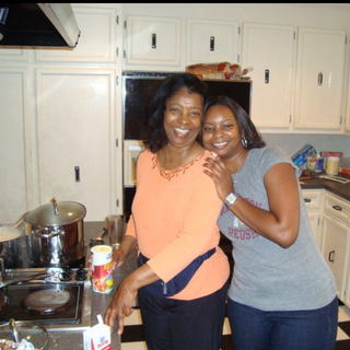 My mom and I in our favorite place...the kitchen!