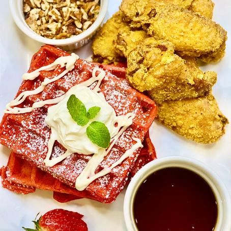 Red Velvet Waffles with Cream Cheese Glaze