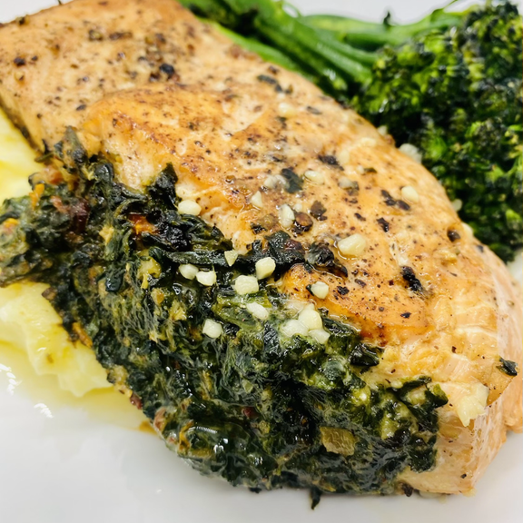 Spinach Stuffed Salmon with Lemon Garlic Butter