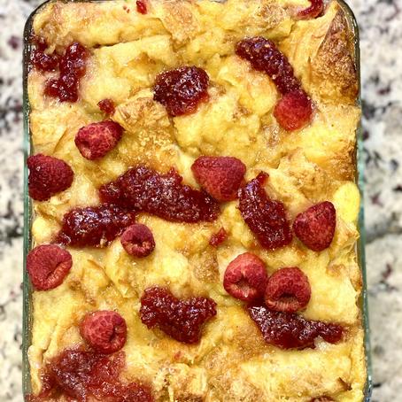 Raspberry Croissant Bread Pudding