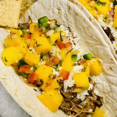 Pork Carnitas Tacos with Drunken Mango Salsa