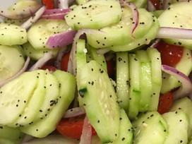 Cucumber TomatoSaladwith Lemon Poppyseed Dressing