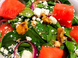 Watermelon and Feta Salad with Pomegranate Balsamic Dressing
