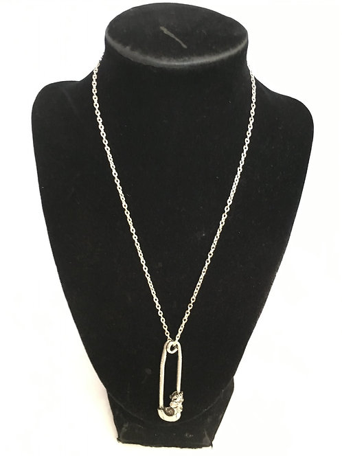 Punk Skull Safety Pin Necklace