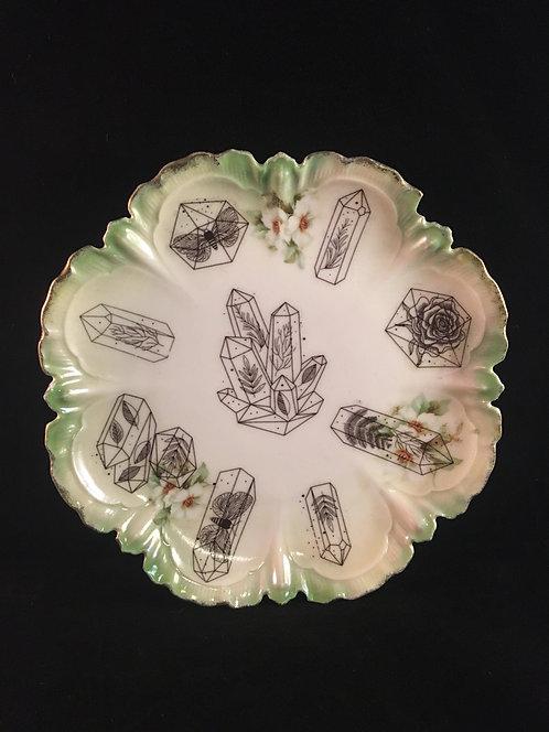 Crystal Flora Fauna Vintage Plate