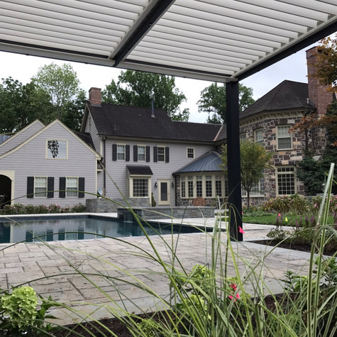 Stand alone Solisysteme® poolside pergola installation in Harding Township, NJ
