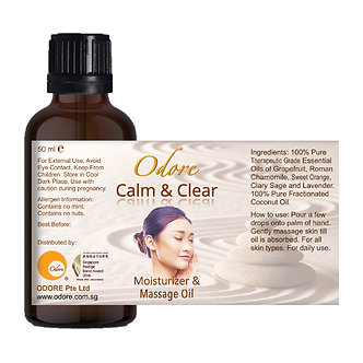 Moisturiser / Massage Oil - CALM & CLEAR - 50 ml Nett