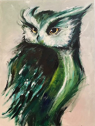 Large Colorful Owl Painting Art