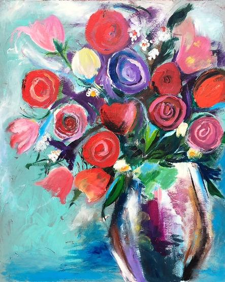 Large Flower Painting Vase Still Life Roses Art