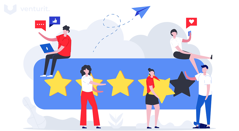 clients and users giving 5 star feedback of a product