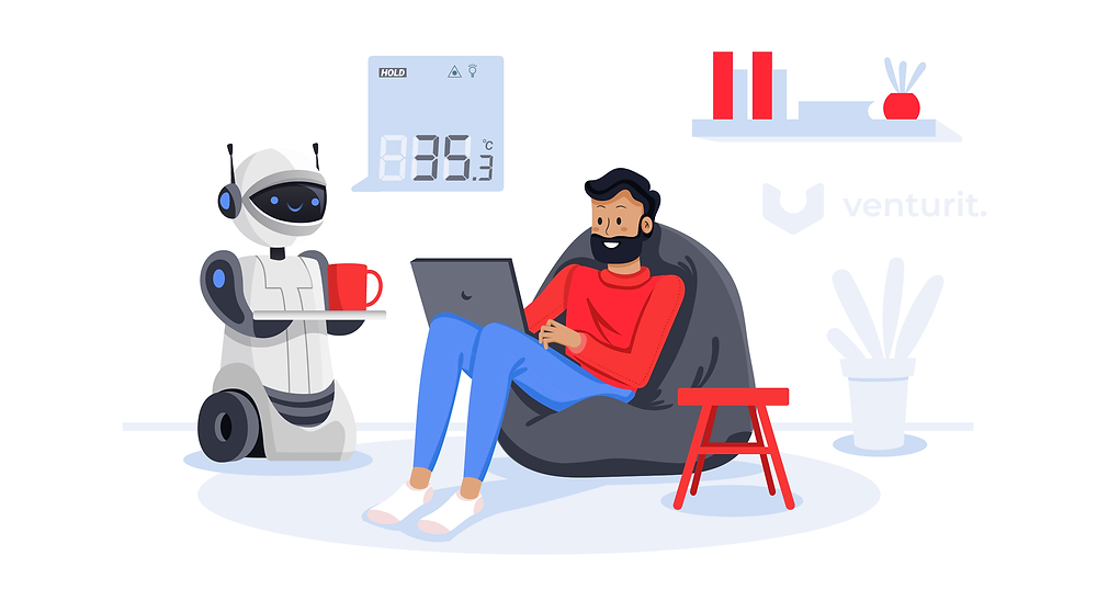A man working from home and his friendly robot helper bringing him coffee