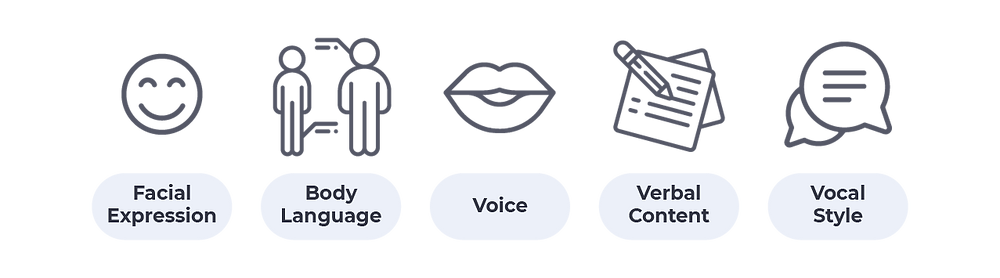 the most common communicational paths: facial expression, bodylanguage, voice, verbal content, vocal style