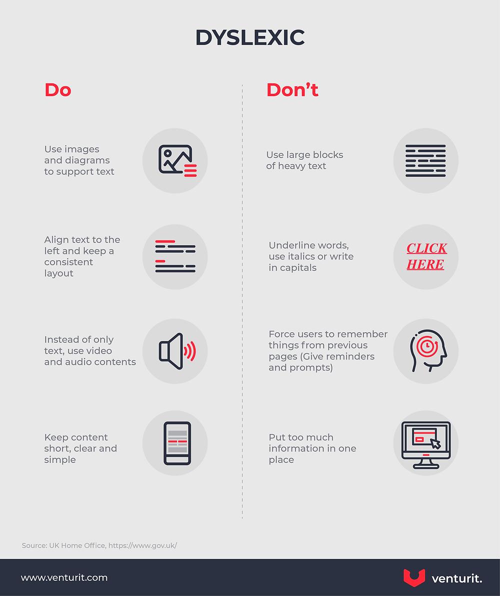 Dyslexia Dos and Don'ts when Designing