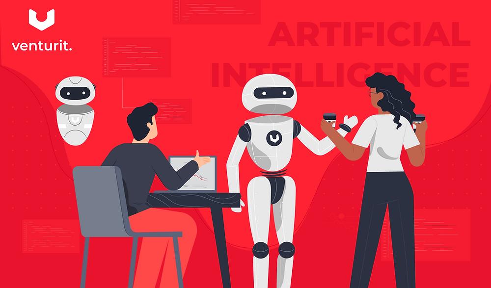 Artificial Intelligence robot helping teammates