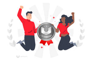 People jumping and smiling with a Platinum Badge