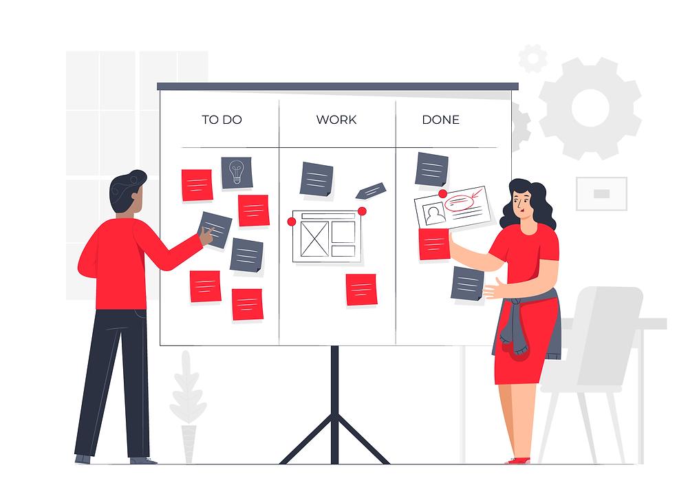 Team organizing ideas on a white board