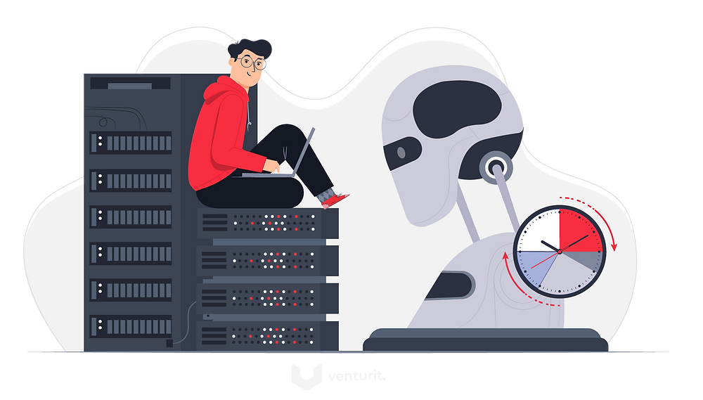 Programmer looking at a robots digital brain
