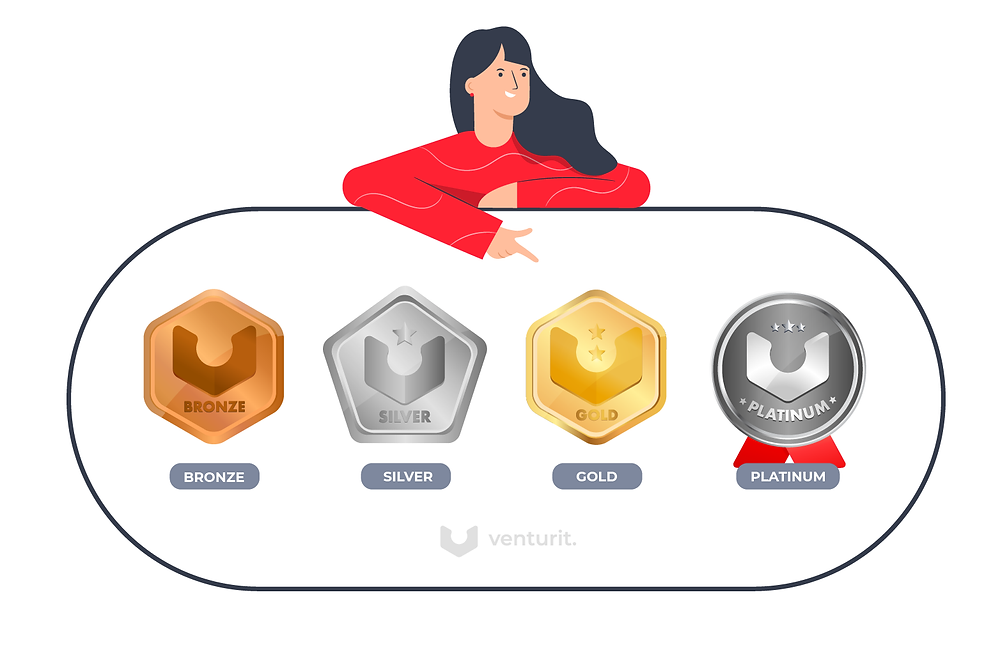 Badges: Bronze, Silver, Gold, Platinum