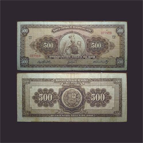 PERÚ - Billete 500 Soles de oro 1959