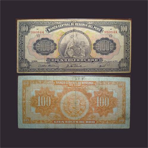 PERÚ - Billete 100 Soles de Oro 1952