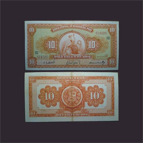 PERÚ - Billete 10 Soles de oro 1960