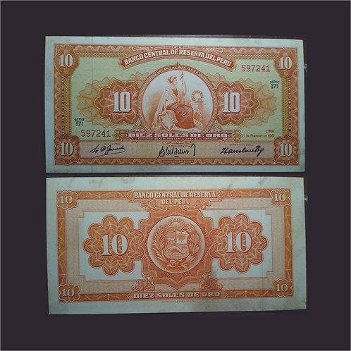 PERÚ - Billete 10 Soles de oro 1961