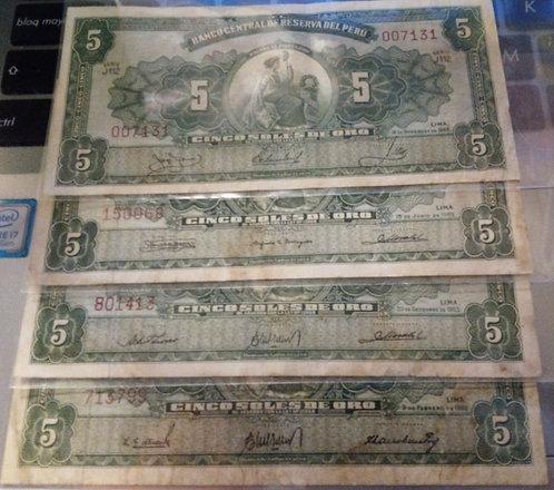 PERÚ 4 Billetes 5 Soles de oro 1963, 1963, 1965 y 1966