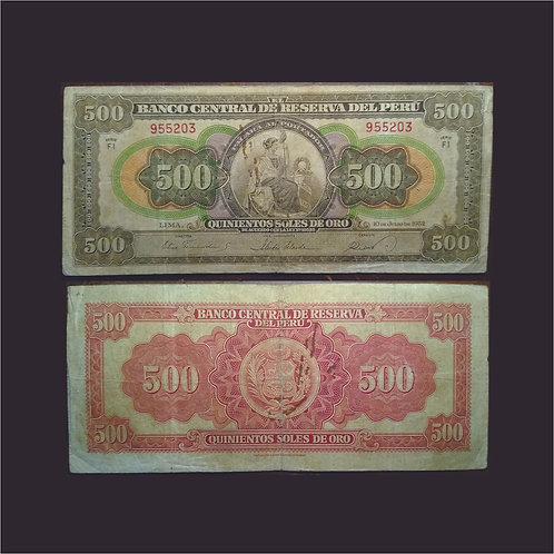 PERÚ - Billete 500 soles 1952 RARO