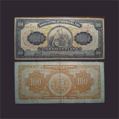 PERÚ - Billete 100 Soles de Oro 1954