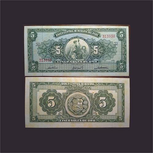 PERÚ - Billete 5 Soles de oro 1963