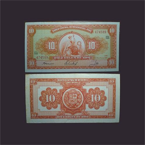 PERÚ - Billete 10 Soles de oro 1966