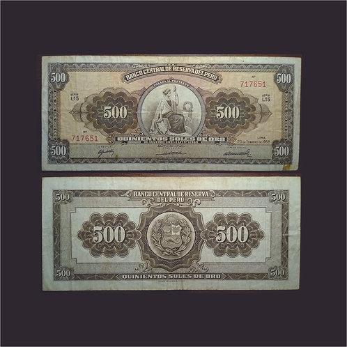 PERÚ - Billete 500 Soles de oro 1968