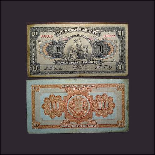PERÚ - Billete 10 Soles de oro 1955