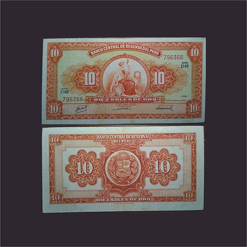 PERÚ - Billete 10 Soles de oro 1967