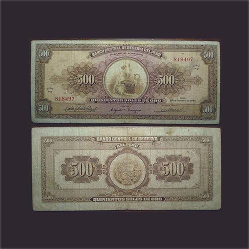 PERÚ - Billete 500 Soles de oro 1965