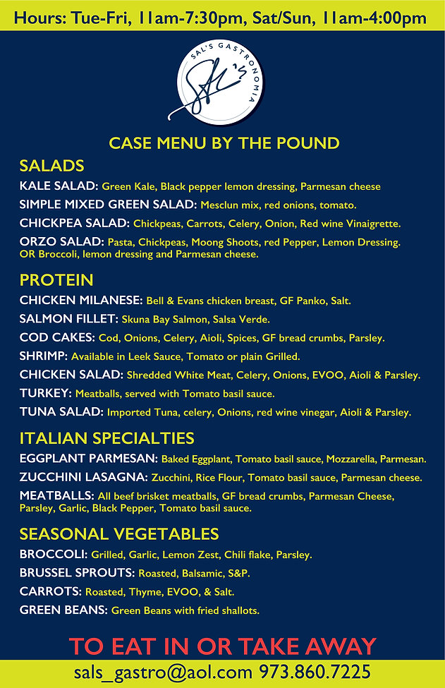 Case Menu Sal's Gastronomia