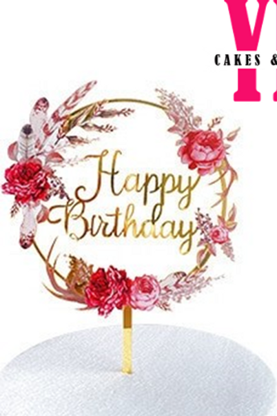 Red Floral Acrylic Happy Birthday Cake Topper