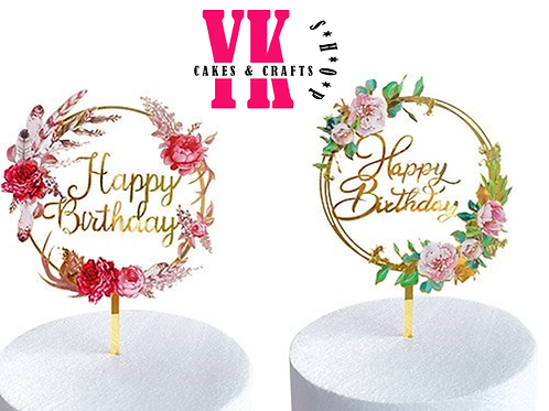 Pink Floral Acrylic Happy Birthday Cake Topper