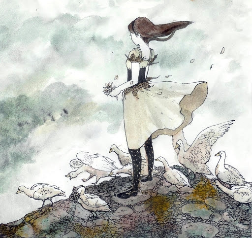 """""""The Goose Girl"""" painting by Steph Holmes"""