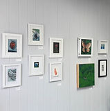 Steph Holmes art studio gallery wall