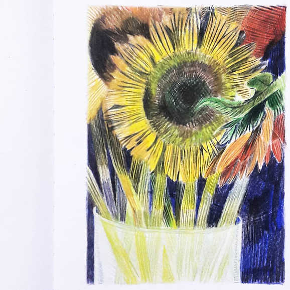 """Sunflowers in Vase"""