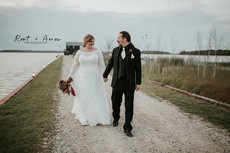Wedding couple just married at Drummond Island Resort