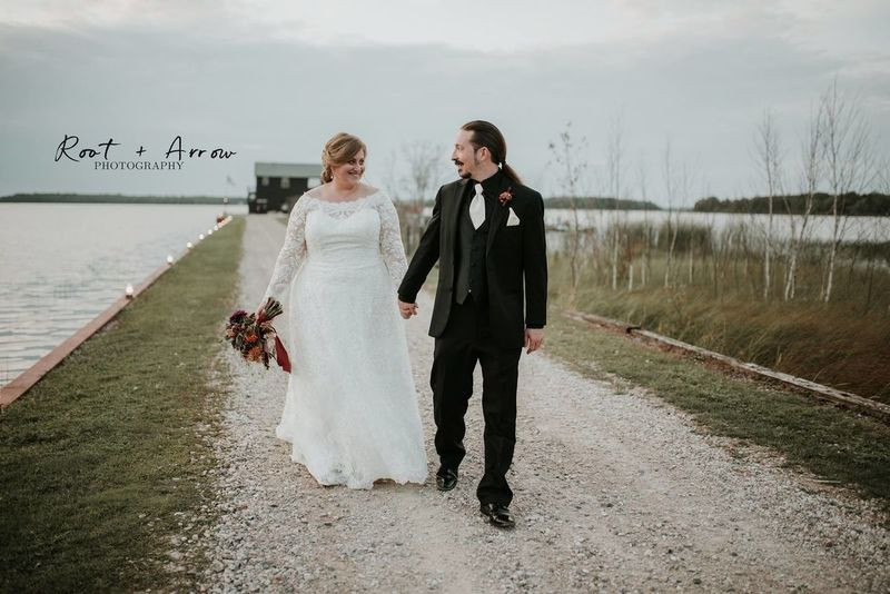 Wedding couple just married at Drummond Island Resort