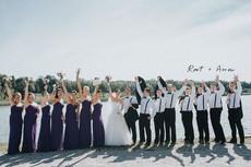 Wedding party celebrating at Drummond Island Resort