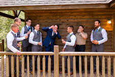 Groom and Best Men Celebrating at Drummond Island