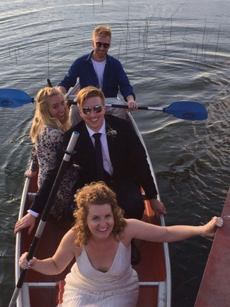 Wedding party fun photos at Drummond Island Resort