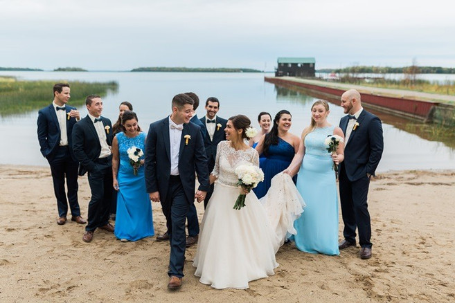 Wedding Party on Beach at Drummond Island Resort