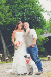 Wedding Couple with their Dog at Drummond Island Resort